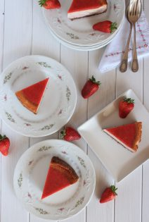 Zebra Strawberry Cheesecakes