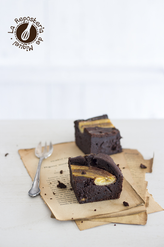 Brownie de Chocolate, Caramelo y Plátano
