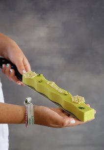 Cremoso de almendras con gianduja de pistachos