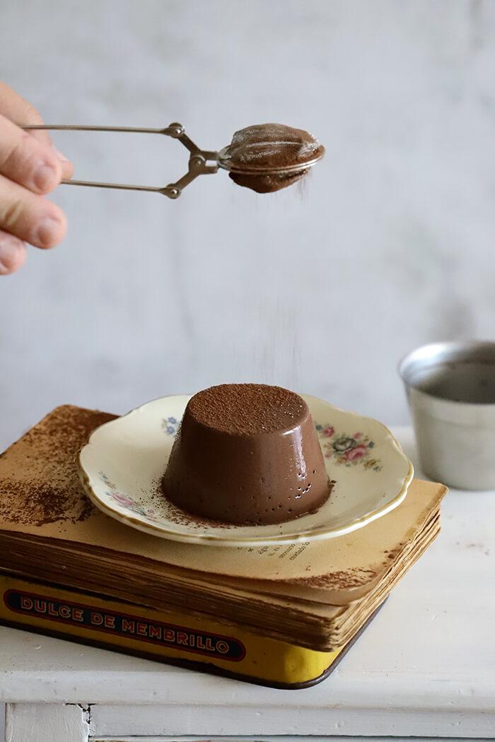 Flan de chocolate sin horno y con Vitamix